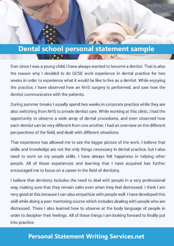 Dental school personal statement word limit